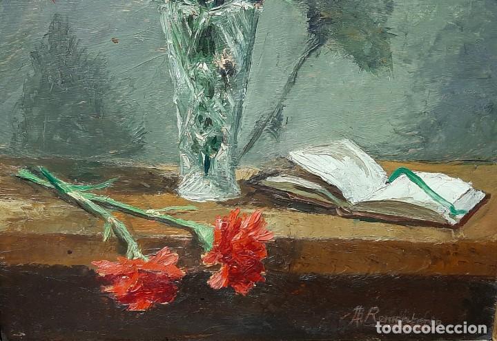 Arte: Bodegón de claveles. Enrique Rementería (1900-1980). - Foto 5 - 207141522