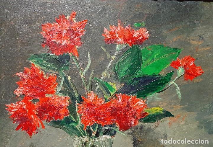 Arte: Bodegón de claveles. Enrique Rementería (1900-1980). - Foto 6 - 207141522
