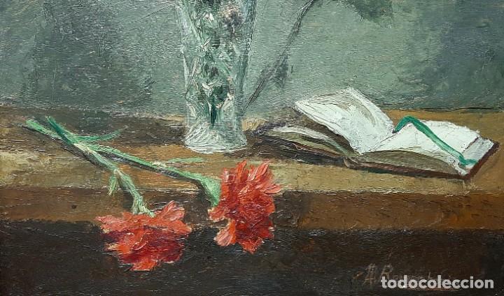 Arte: Bodegón de claveles. Enrique Rementería (1900-1980). - Foto 7 - 207141522