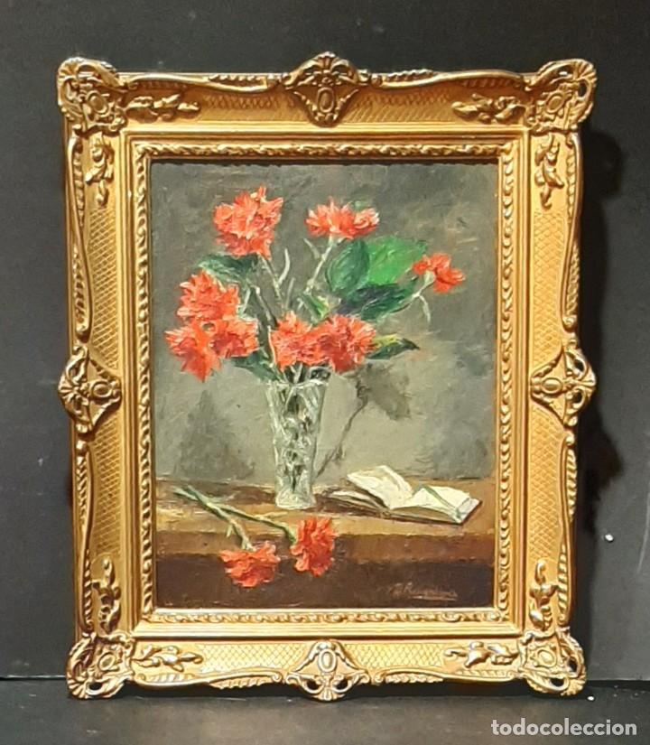 Arte: Bodegón de claveles. Enrique Rementería (1900-1980). - Foto 10 - 207141522