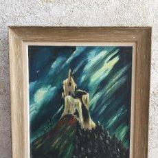 Arte: OLEO SOBRE CARTON CASTILLO EN PEÑON SIGUIENDO A MAURICE VLAMINCK 56X48CMS. Lote 207195950