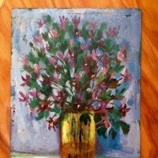 Arte: FLORES DE PACO ALCARAZ, ÓLEO SOBRE TABLEX. Lote 207224795