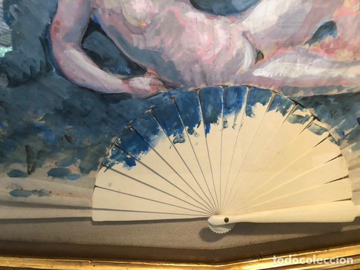 Arte: PRECIOSO OLEO SOBRE ABANICO DE LA PINTORA TERESA LLACER. DESNUDO. FIRMADO Y FECHADO 86. - Foto 5 - 207266398
