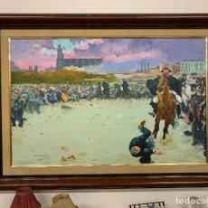 Arte: ESPECTACULAR PÌNTURA AL OLEO, GRAN TAMAÑO REPRODUCCION DEL CUADRO -LA CARGA- DE RAMON CASAS. FIRMADO. Lote 207271226