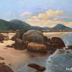 Arte: ANTONIO FERNÁNDEZ. ( GOIÁN, TOMIÑO, PONTEVEDRA, 16/02/1882 - 02/11/1970 ). PLAYA DE SANTOS 1906. Lote 207281420