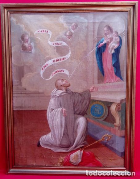 ÓLEO S/LIENZO -LA LACTANCIA DE SAN BERNARDO-. ESCUELA ESPAÑOLA S. XVII. DIM.- 74X56.5 CMS. (Arte - Pintura - Pintura al Óleo Antigua siglo XVII)