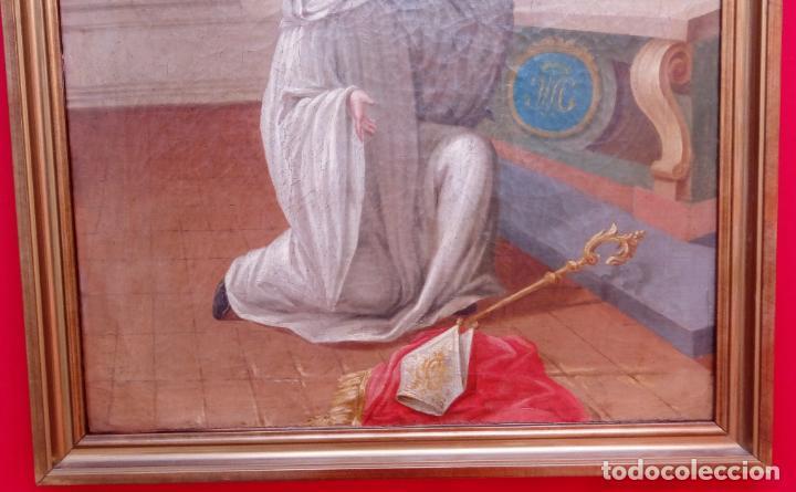 Arte: ÓLEO S/LIENZO -LA LACTANCIA DE SAN BERNARDO-. ESCUELA ESPAÑOLA S. XVII. DIM.- 74X56.5 CMS. - Foto 6 - 165127030