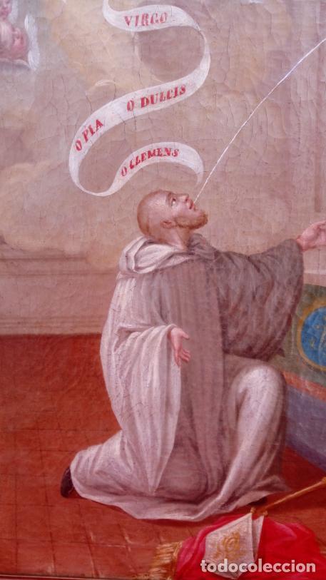 Arte: ÓLEO S/LIENZO -LA LACTANCIA DE SAN BERNARDO-. ESCUELA ESPAÑOLA S. XVII. DIM.- 74X56.5 CMS. - Foto 15 - 165127030