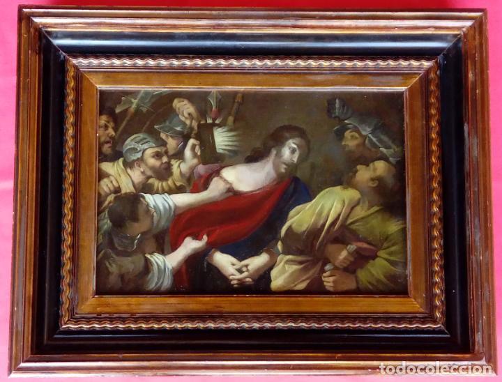 ÓLEO S/COBRE -PRENDIMIENTO DE JESÚS-. ESCUELA FLAMENCA S. XVII. DIM.- 56.5X44 CMS CON MARCO. (Arte - Pintura - Pintura al Óleo Antigua siglo XVII)