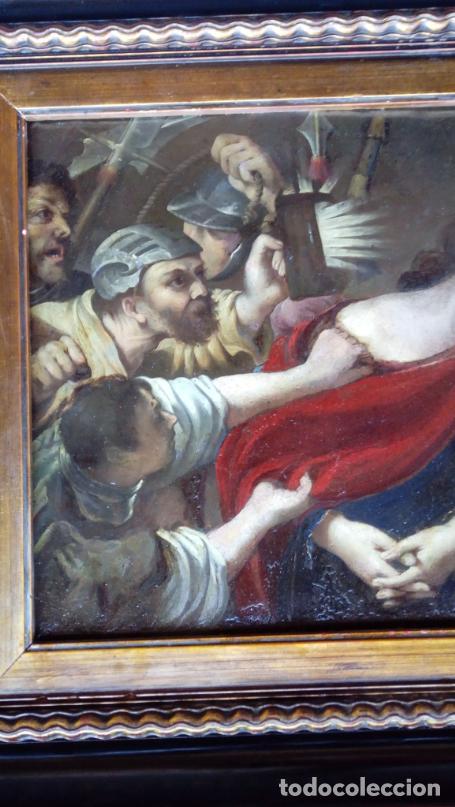 Arte: ÓLEO S/COBRE -PRENDIMIENTO DE JESÚS-. ESCUELA FLAMENCA S. XVII. DIM.- 56.5X44 CMS CON MARCO. - Foto 3 - 207385263