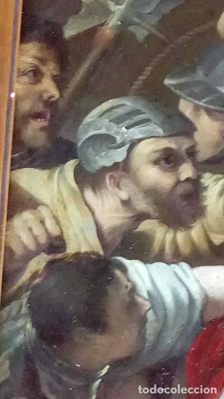 Arte: ÓLEO S/COBRE -PRENDIMIENTO DE JESÚS-. ESCUELA FLAMENCA S. XVII. DIM.- 56.5X44 CMS CON MARCO. - Foto 6 - 207385263