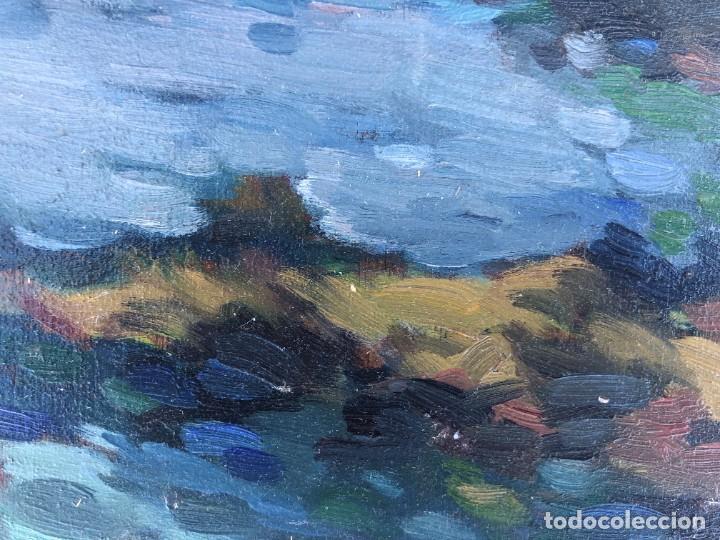 Arte: Josep Marfa Guarro (1928-2014) - Marina costa catalana - Óleo tabla - Foto 3 - 207467040