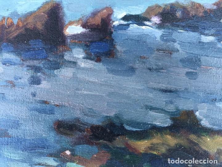 Arte: Josep Marfa Guarro (1928-2014) - Marina costa catalana - Óleo tabla - Foto 4 - 207467040
