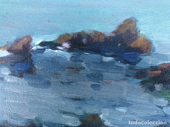 Arte: Josep Marfa Guarro (1928-2014) - Marina costa catalana - Óleo tabla - Foto 5 - 207467040