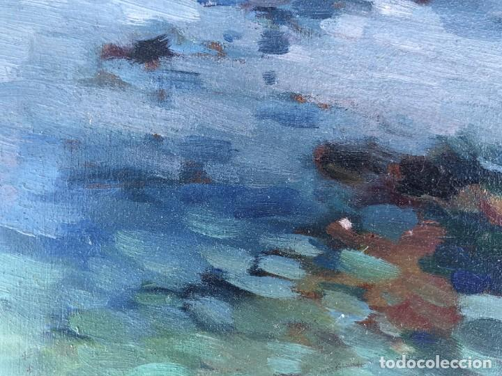 Arte: Josep Marfa Guarro (1928-2014) - Marina costa catalana - Óleo tabla - Foto 6 - 207467040