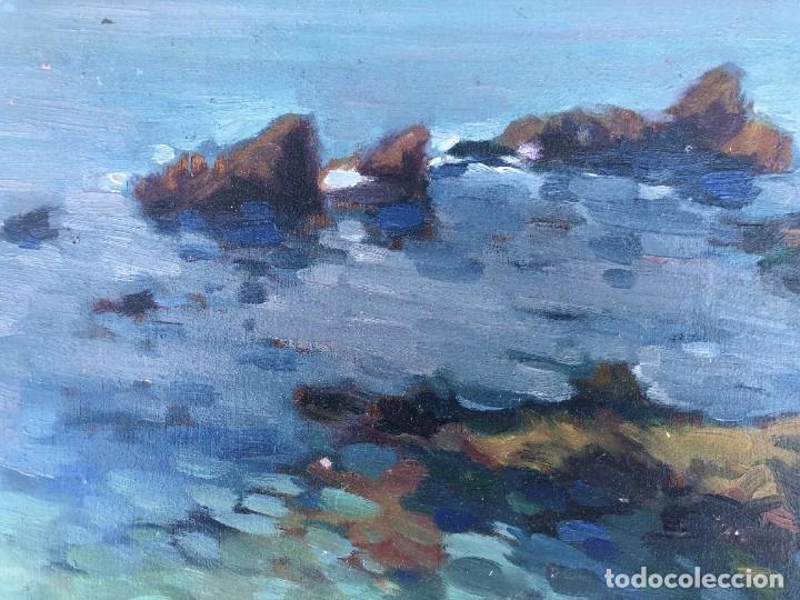 Arte: Josep Marfa Guarro (1928-2014) - Marina costa catalana - Óleo tabla - Foto 7 - 207467040