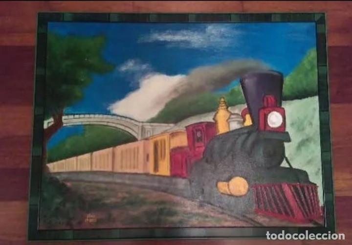 CUADRO AL OLEO TREN FERROCARRIL MAQUINA A VAPOR, INCLUYE MARCO. 50 X 65 CTMS (Arte - Pintura - Pintura al Óleo Contemporánea )