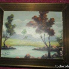 Arte: PINTURA ANTIGUA OLEO EN CARTON PAISAJE FIRMADO. Lote 207574453