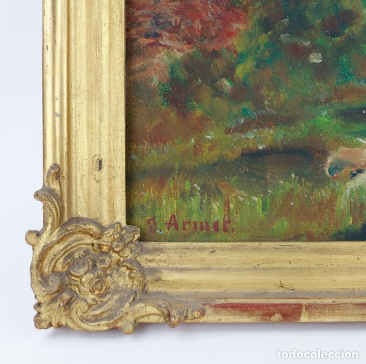 Arte: Josep Armet (1843 - 1911), paisaje, río y personaje, pintura al óleo sobre tela, con marco. - Foto 4 - 207581681