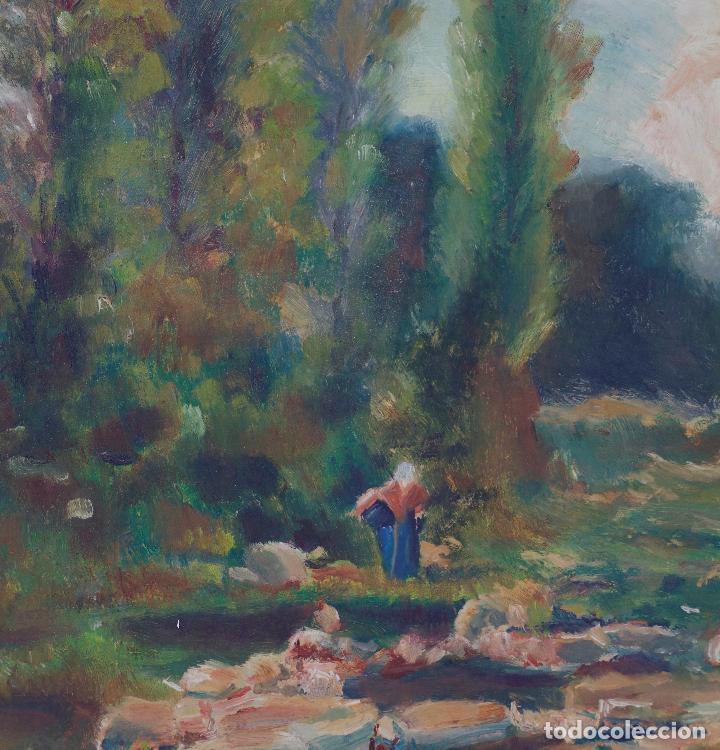 Arte: Josep Armet (1843 - 1911), paisaje, río y personaje, pintura al óleo sobre tela, con marco. - Foto 2 - 207581681