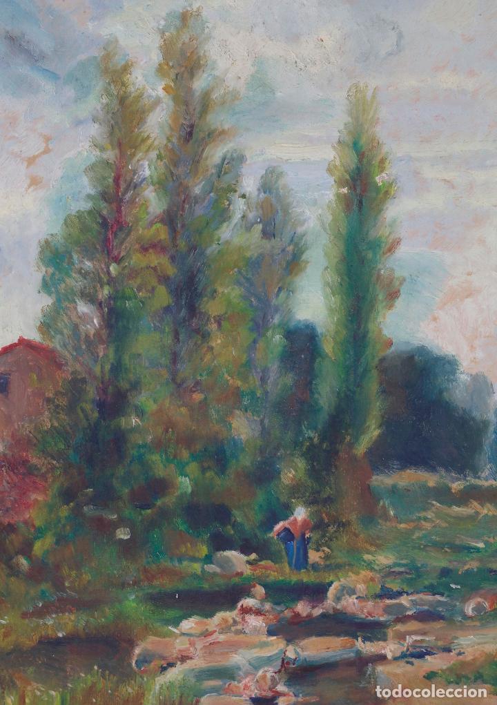 Arte: Josep Armet (1843 - 1911), paisaje, río y personaje, pintura al óleo sobre tela, con marco. - Foto 3 - 207581681