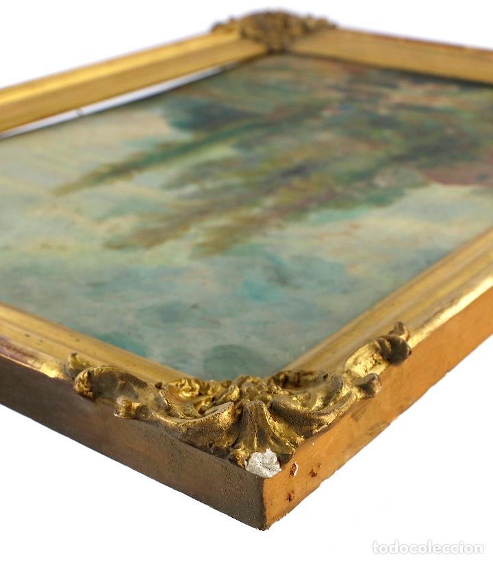 Arte: Josep Armet (1843 - 1911), paisaje, río y personaje, pintura al óleo sobre tela, con marco. - Foto 5 - 207581681