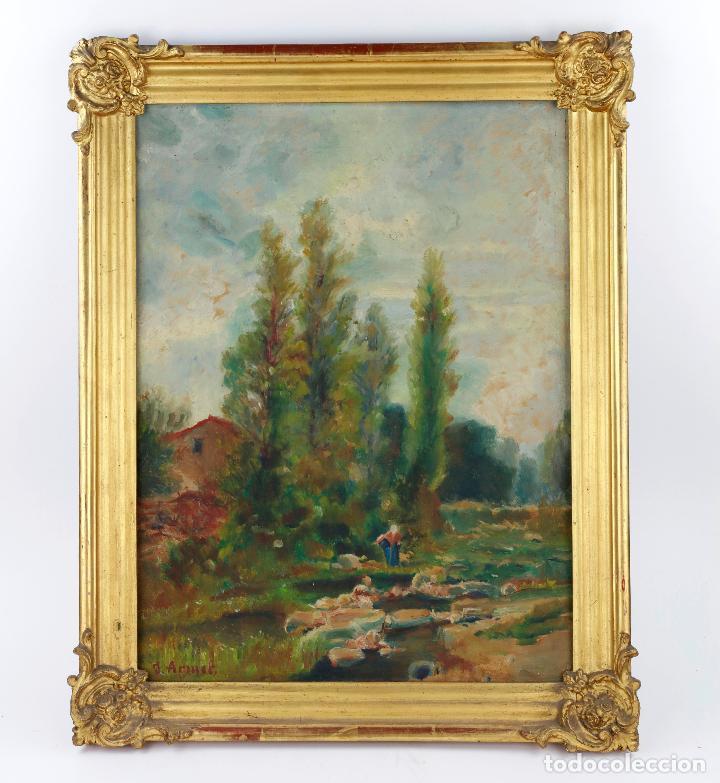 JOSEP ARMET (1843 - 1911), PAISAJE, RÍO Y PERSONAJE, PINTURA AL ÓLEO SOBRE TELA, CON MARCO. (Arte - Pintura - Pintura al Óleo Contemporánea )