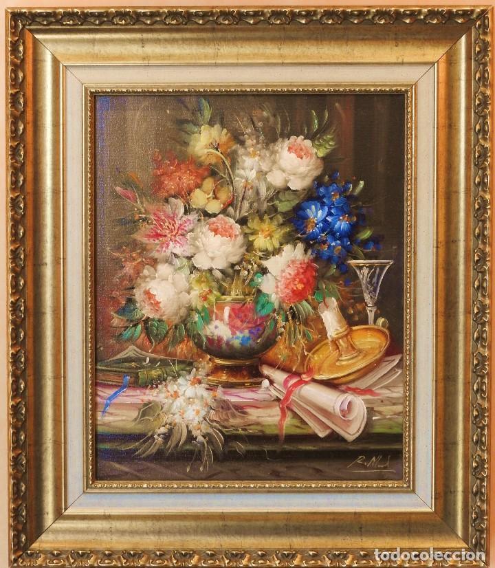 ROBERTO MICHEL - BARCELONA 1.959 - NATURALEZA MUERTA - ÓLEO SOBRE LIENZO - ENMARCADO (Arte - Pintura - Pintura al Óleo Contemporánea )