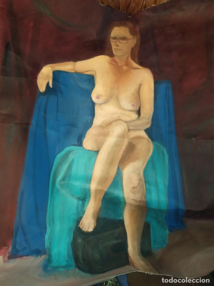 ÓLEO SOBRE LIENZO MUJER SEÑORA MAYOR ANCIANA ARTÍSTICA ESTUDIO DESNUDA RESTAURAR RECORTADA 94 X 79 (Arte - Pintura - Pintura al Óleo Contemporánea )