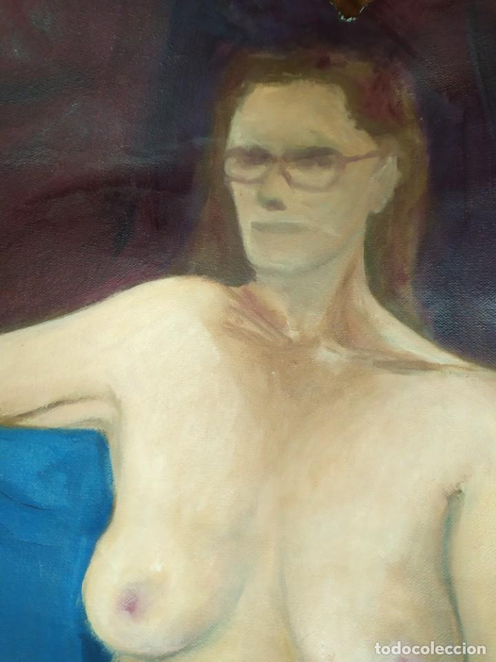 Arte: ÓLEO SOBRE LIENZO MUJER SEÑORA MAYOR ANCIANA ARTÍSTICA ESTUDIO DESNUDA RESTAURAR RECORTADA 94 X 79 - Foto 3 - 207657995