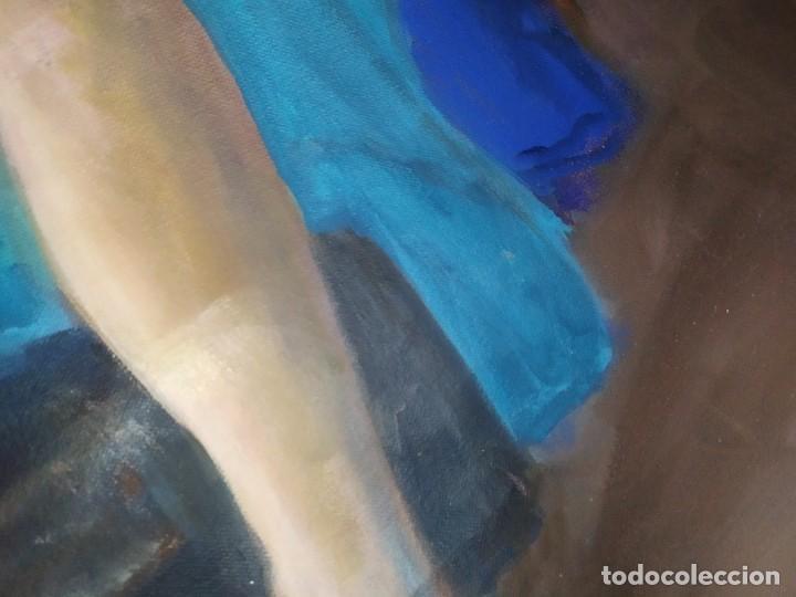 Arte: ÓLEO SOBRE LIENZO MUJER SEÑORA MAYOR ANCIANA ARTÍSTICA ESTUDIO DESNUDA RESTAURAR RECORTADA 94 X 79 - Foto 4 - 207657995