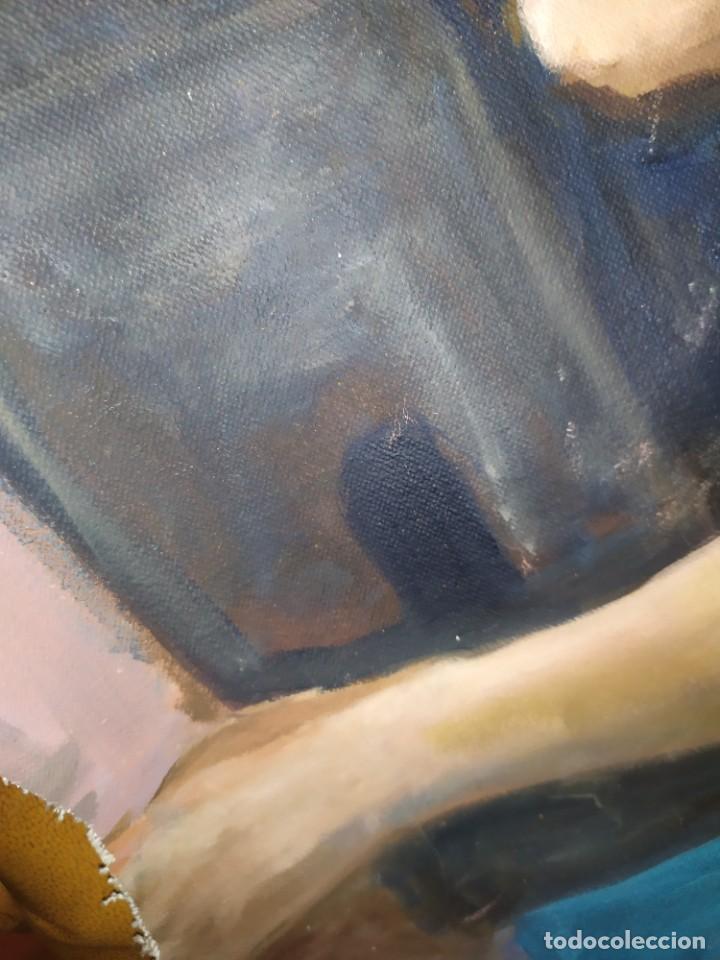 Arte: ÓLEO SOBRE LIENZO MUJER SEÑORA MAYOR ANCIANA ARTÍSTICA ESTUDIO DESNUDA RESTAURAR RECORTADA 94 X 79 - Foto 5 - 207657995