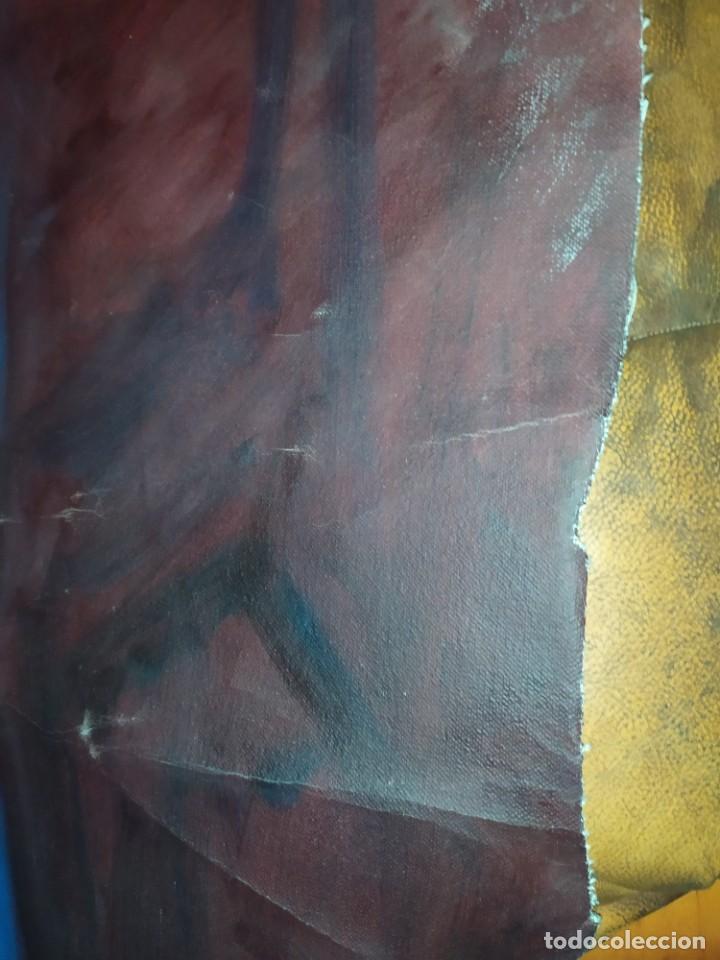 Arte: ÓLEO SOBRE LIENZO MUJER SEÑORA MAYOR ANCIANA ARTÍSTICA ESTUDIO DESNUDA RESTAURAR RECORTADA 94 X 79 - Foto 10 - 207657995