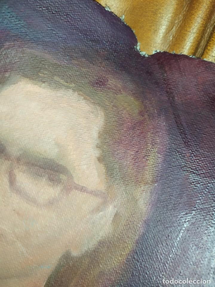 Arte: ÓLEO SOBRE LIENZO MUJER SEÑORA MAYOR ANCIANA ARTÍSTICA ESTUDIO DESNUDA RESTAURAR RECORTADA 94 X 79 - Foto 12 - 207657995