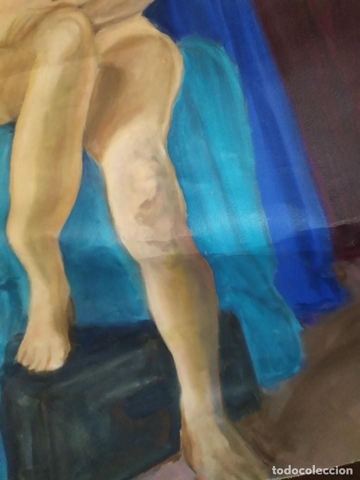 Arte: ÓLEO SOBRE LIENZO MUJER SEÑORA MAYOR ANCIANA ARTÍSTICA ESTUDIO DESNUDA RESTAURAR RECORTADA 94 X 79 - Foto 17 - 207657995