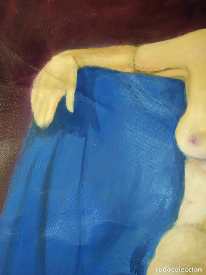Arte: ÓLEO SOBRE LIENZO MUJER SEÑORA MAYOR ANCIANA ARTÍSTICA ESTUDIO DESNUDA RESTAURAR RECORTADA 94 X 79 - Foto 21 - 207657995