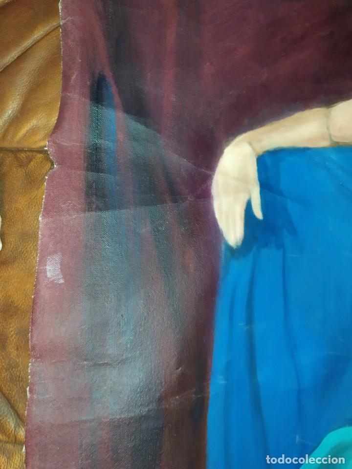 Arte: ÓLEO SOBRE LIENZO MUJER SEÑORA MAYOR ANCIANA ARTÍSTICA ESTUDIO DESNUDA RESTAURAR RECORTADA 94 X 79 - Foto 28 - 207657995