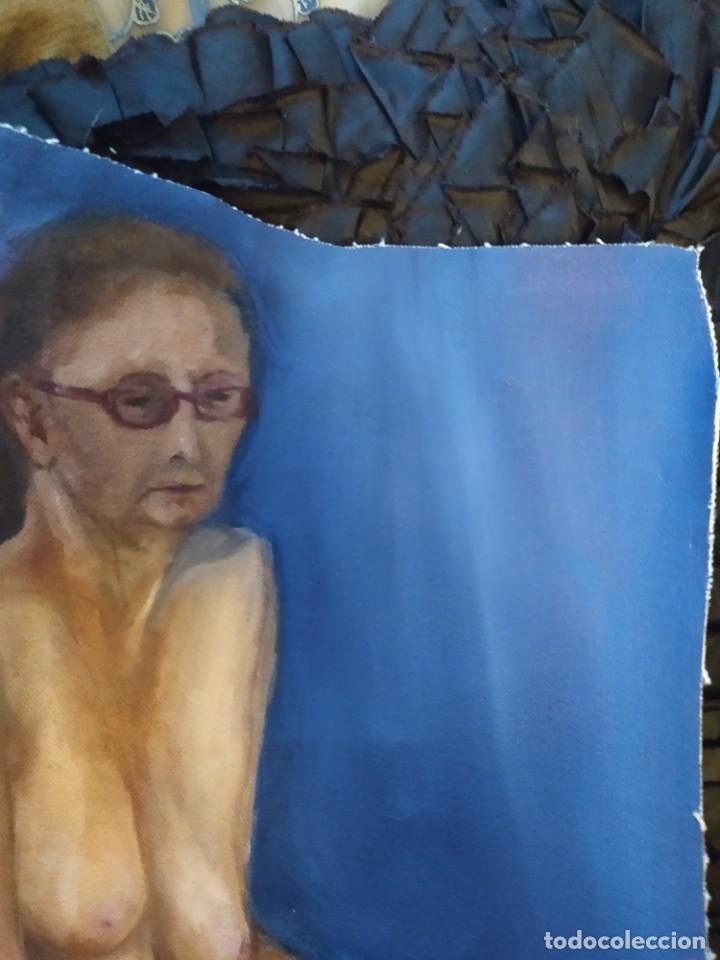 Arte: ÓLEO SOBRE LIENZO MUJER SEÑORA MAYOR ANCIANA ARTÍSTICA ESTUDIO DESNUDA 70 X 53 - Foto 14 - 207659622