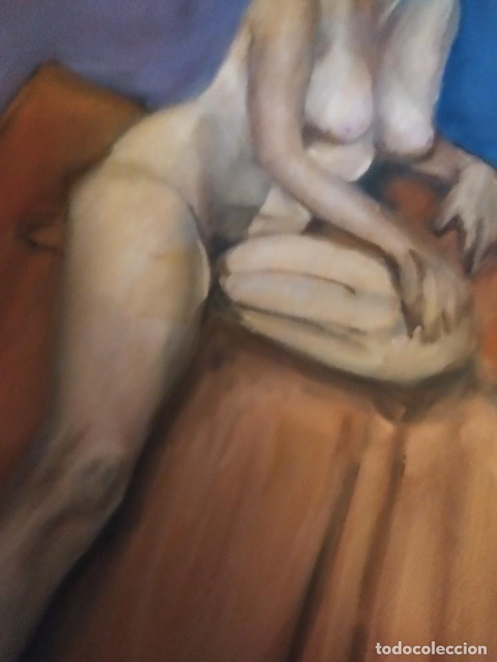 Arte: ÓLEO SOBRE LIENZO MUJER SEÑORA MAYOR ANCIANA ARTÍSTICA ESTUDIO DESNUDA 70 X 53 - Foto 19 - 207659622