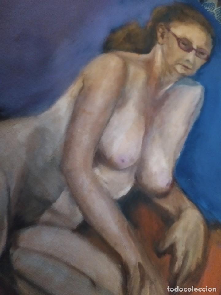 Arte: ÓLEO SOBRE LIENZO MUJER SEÑORA MAYOR ANCIANA ARTÍSTICA ESTUDIO DESNUDA 70 X 53 - Foto 20 - 207659622