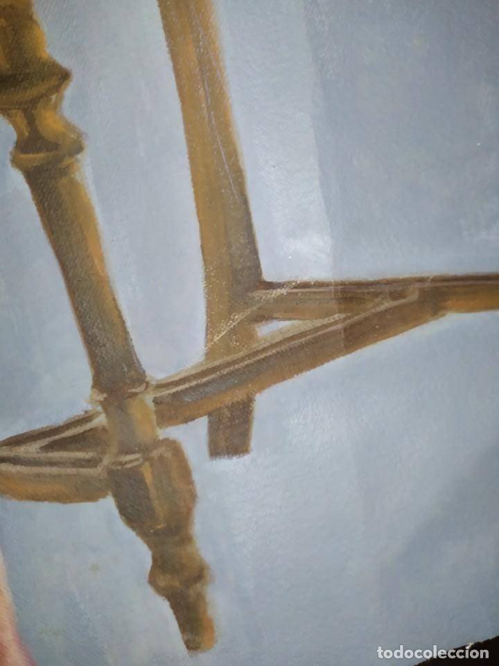 Arte: ÓLEO SOBRE LIENZO CHICO ESTUDIO ARTÍSTICA SEMI DESNUDO SILLA 52 X 63 SIN BASTIDOR RECORTADO - Foto 5 - 207660031
