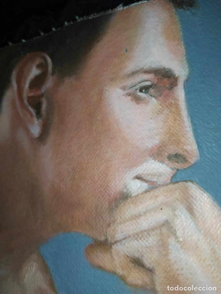 Arte: ÓLEO SOBRE LIENZO CHICO ESTUDIO ARTÍSTICA SEMI DESNUDO SILLA 52 X 63 SIN BASTIDOR RECORTADO - Foto 7 - 207660031