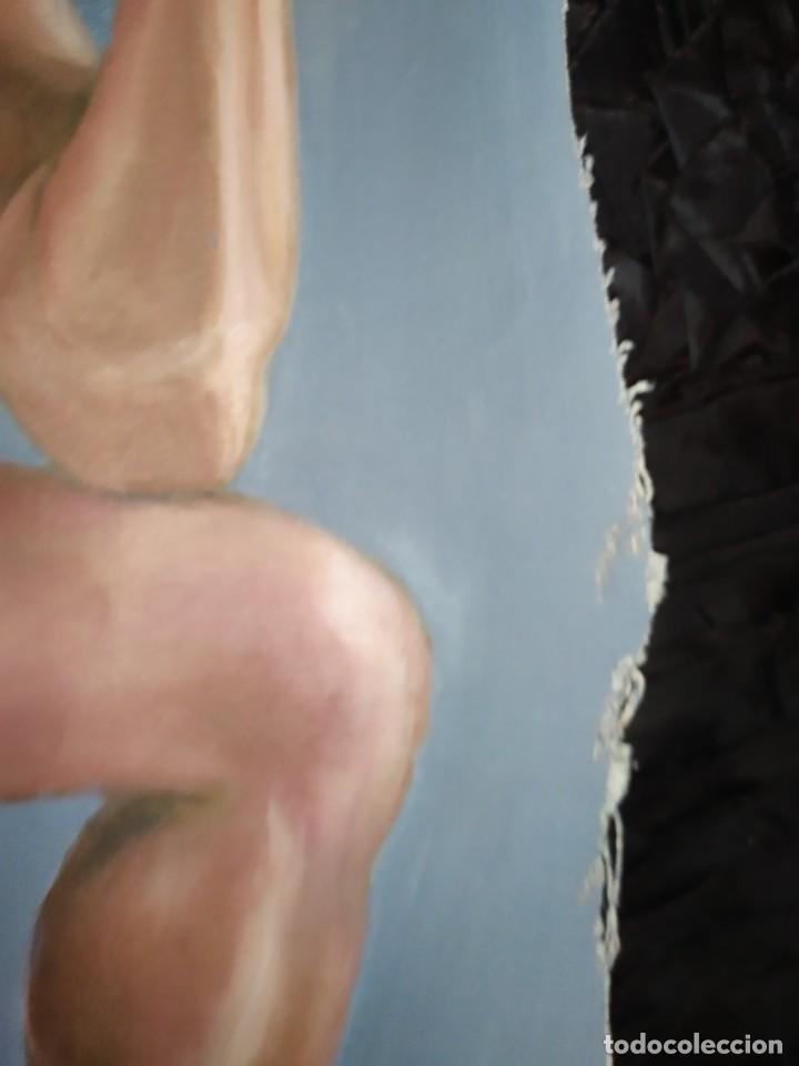 Arte: ÓLEO SOBRE LIENZO CHICO ESTUDIO ARTÍSTICA SEMI DESNUDO SILLA 52 X 63 SIN BASTIDOR RECORTADO - Foto 8 - 207660031