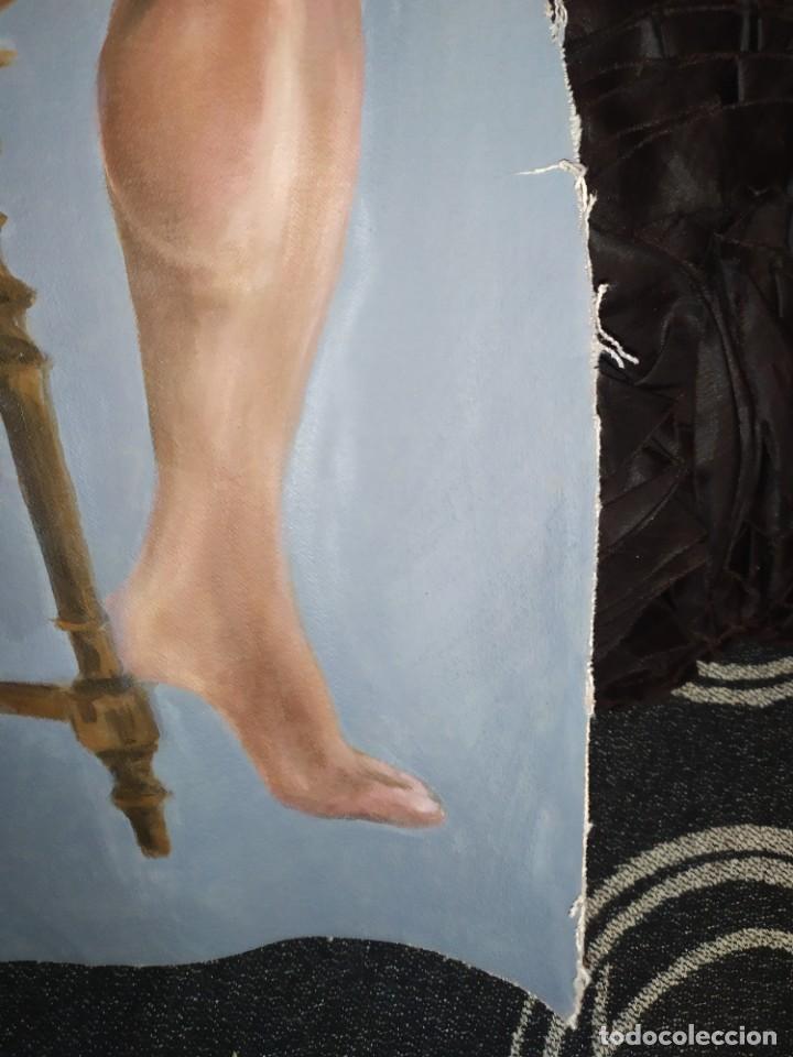 Arte: ÓLEO SOBRE LIENZO CHICO ESTUDIO ARTÍSTICA SEMI DESNUDO SILLA 52 X 63 SIN BASTIDOR RECORTADO - Foto 10 - 207660031
