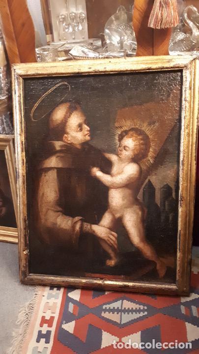Arte: SAN ANTONIO. ÓLEO SIGLO XVII CASTILLA. - Foto 2 - 207815093
