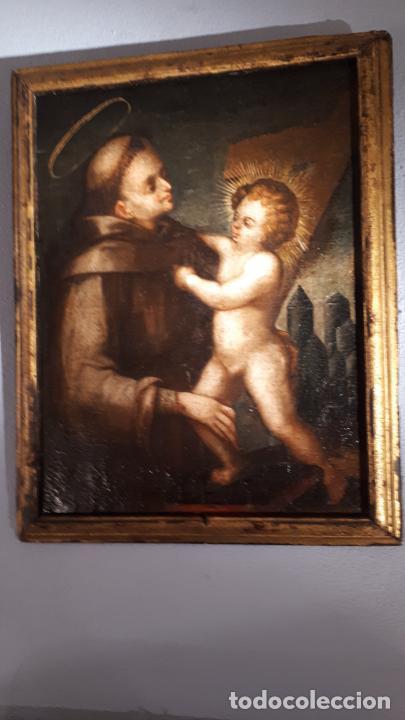 Arte: SAN ANTONIO. ÓLEO SIGLO XVII CASTILLA. - Foto 4 - 207815093