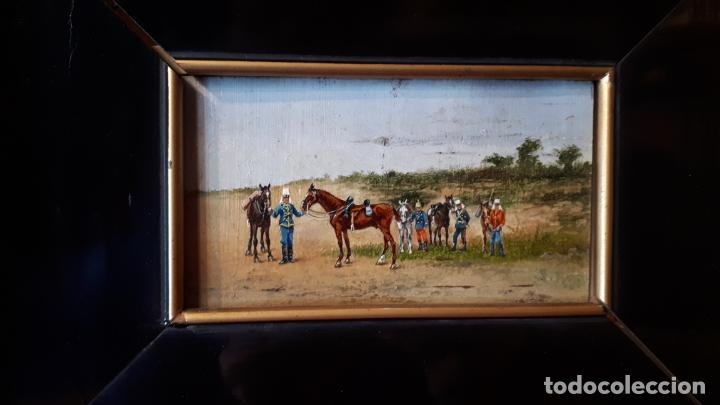 MILITARES.ÓLEO SOBRE TABLA, CIRCA 1900. (Arte - Pintura - Pintura al Óleo Antigua sin fecha definida)