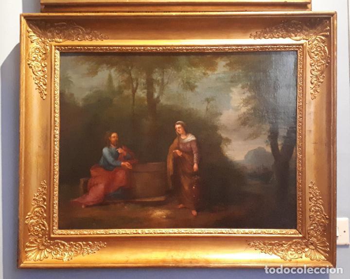 LA SAMARITANA, ÓLEO, FRANCIA, SIGLO XVIII. (Arte - Pintura - Pintura al Óleo Antigua siglo XVIII)
