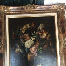 Arte: PINTURA SIGLOS XVIII - XIX , ANÓNIMO ÓLEO SOBRE TABLA . BODEGÓN DE FLORES ENMARCADO. Lote 207986480