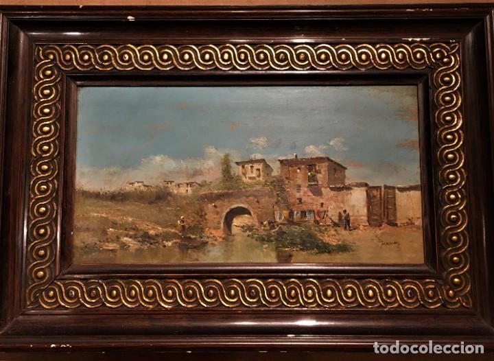 Arte: Paisaje, escuela española, firmado Fernández - Foto 2 - 208036892